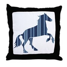 Blue Striped Horse Throw Pillow