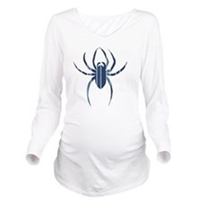 Blue Striped Spider Long Sleeve Maternity T-Shirt