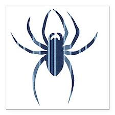 "Blue Striped Spider Square Car Magnet 3"" x 3"""