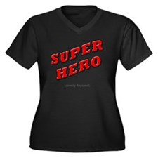 Super Hero - Women's Plus Size Dark V-Neck T-Shirt