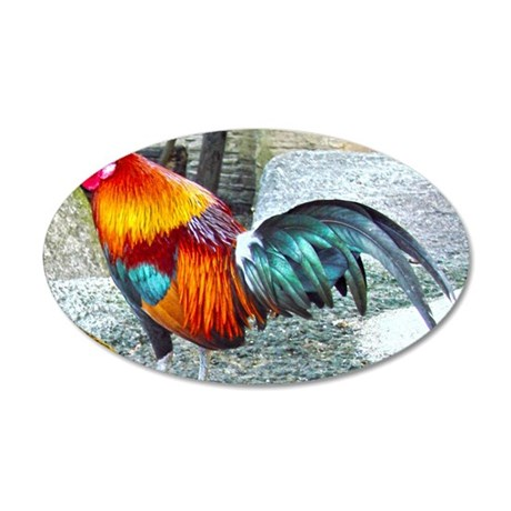 Wake Up Rooster 35x21 Oval Wall Decal