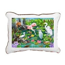 Wetlands Animals Rectangular Canvas Pillow