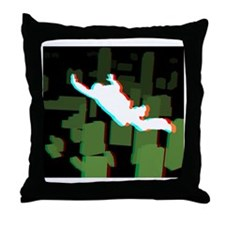 3D Freefall Skyline 1 Icon (Black BG) Throw Pillow