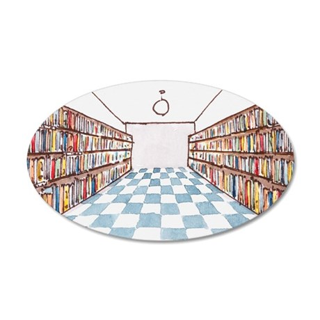 Illustration of a library wi 35x21 Oval Wall Decal