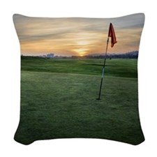 On The Green Woven Throw Pillow