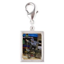 Man jumping over traffic Silver Portrait Charm