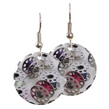 Bobbins of thread Earring Circle Charm