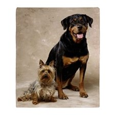 SMALL SILKY TERRIER AND BIG ROTTWEIL Throw Blanket