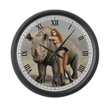 Girl And Rinho Large Wall Clock