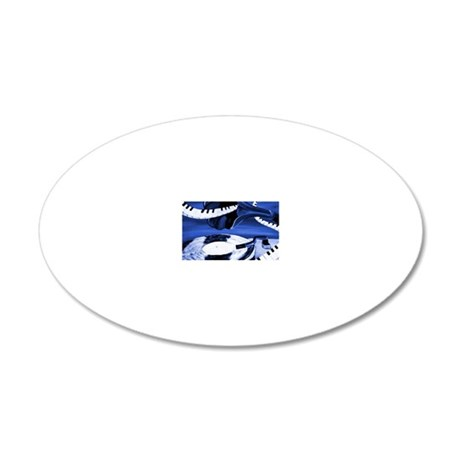 See The Song Blue Abstract 20x12 Oval Wall Decal