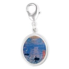 Monet Sunrise Silver Oval Charm
