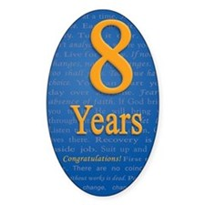 8 Years Recovery Slogan Birthday Ca Decal