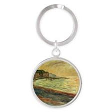 Beach at Pourville Round Keychain