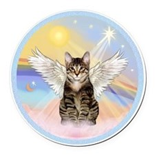 Clouds - Tabby cat angel Round Car Magnet