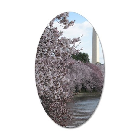 Peal bloom cherry blossom fr 35x21 Oval Wall Decal