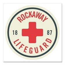 "Rockaway Lifeguard Patch Square Car Magnet 3"" x 3"""