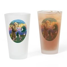 St Francis - Tabby   White Cat Drinking Glass