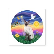"Twilight-Siamese cat (ChocP Square Sticker 3"" x 3"""