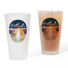 Xmas Angel-White Cat - ASH Drinking Glass