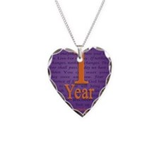 1 Year Recovery Birthday - Yo Necklace Heart Charm