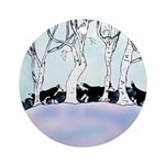 Siberian Puppies out walking Ornament (Round)
