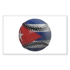 Cuban Baseball Rectangle Decal