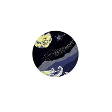 Comet Chasing The Moon Mini Button