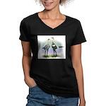Lemon Blue Moderns Women's V-Neck Dark T-Shirt