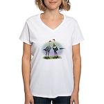 Lemon Blue Moderns Women's V-Neck T-Shirt