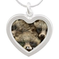 Anti-Fur Raccoon Dog pups Silver Heart Necklace