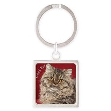 Selkirk Rex Kitten Ornament Square Keychain