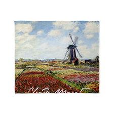 Claude Monet Field Of Tulips Throw Blanket
