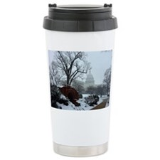 US Capitol Building Snow Photo Ceramic Travel Mug