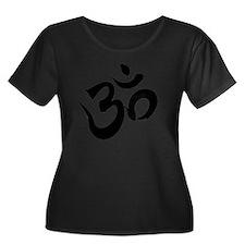 Om Black Women's Plus Size Dark Scoop Neck T-Shirt
