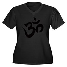 Om Black Women's Plus Size Dark V-Neck T-Shirt
