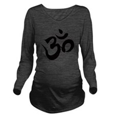 Om Black Long Sleeve Maternity T-Shirt