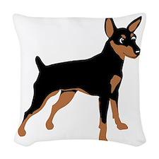 Cartoon Miniature Pinscher 1 Woven Throw Pillow