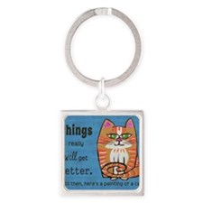 Heres A Cat Square Keychain