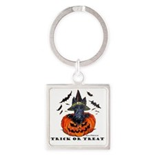Scottie Witch Square Keychain