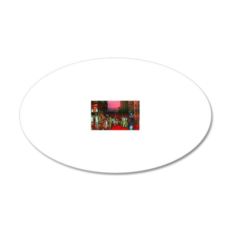 Abstract City View 20x12 Oval Wall Decal