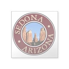 "Sedona - Cathedral Rock Square Sticker 3"" x 3"""