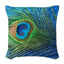 Glittery Blue Peacock Feather  Woven Throw Pillow