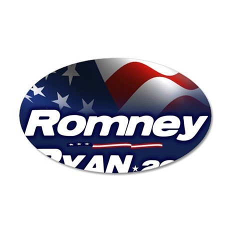 Romney Ryan 2012 35x21 Oval Wall Decal