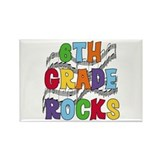 Bright Colors 6th Grade Rectangle Magnet