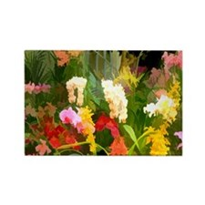 Tropical Orchid Garden Rectangle Magnet