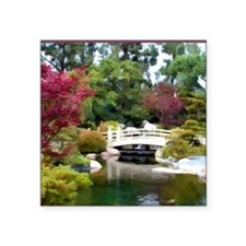 "Japanese GArden and Bridge Square Sticker 3"" x 3"""