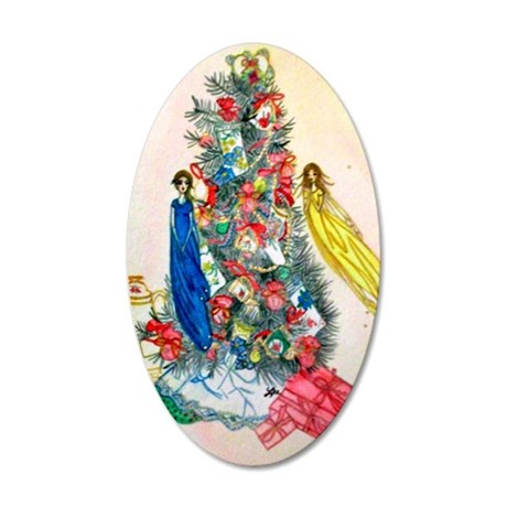 Fairy Christmas Tea 35x21 Oval Wall Decal