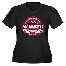 Mammoth Raspberry Women's Plus Size V-Neck Dark T-