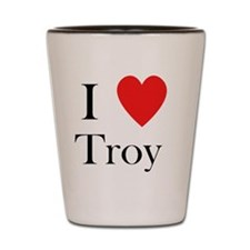 i love troy heart Shot Glass