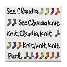 See Claudia Knit Tote Tile Coaster